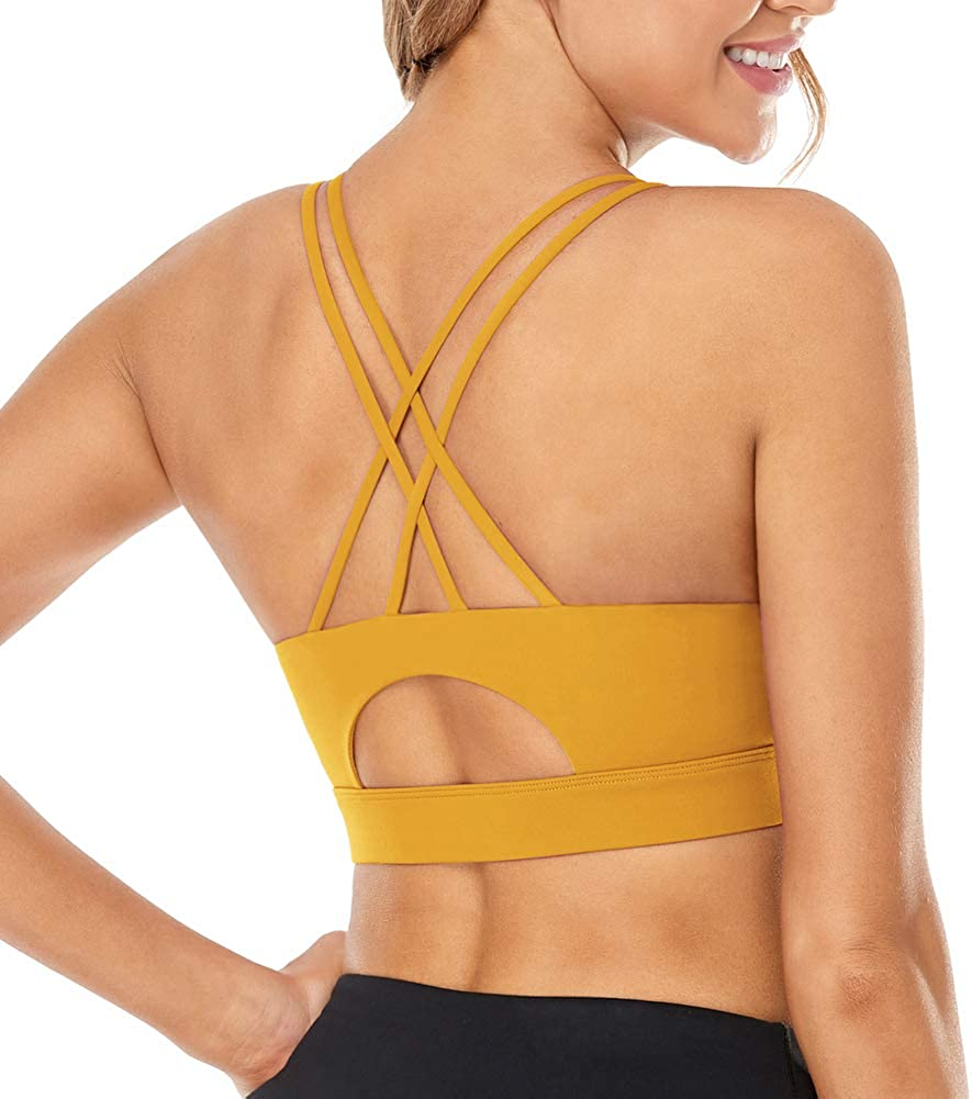 FIGESTIN Sports Bra for Women, Criss-Cross Back Padded Strappy Sports Bras Medium Support Sexy Yoga Bra with Removable Cups