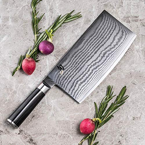 Shun Classic 7 Inch Cleaver Ebony PakkaWood Handle and VG-MAX Damascus Clad, Blade Steel Ultimate Tool for Chopping or Slicing Vegetables, DM0712, Silver