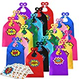 Kids Superhero Capes and Masks 20 Sets Pack with Large Stickers - Superhero Themed Birthday Party Capes