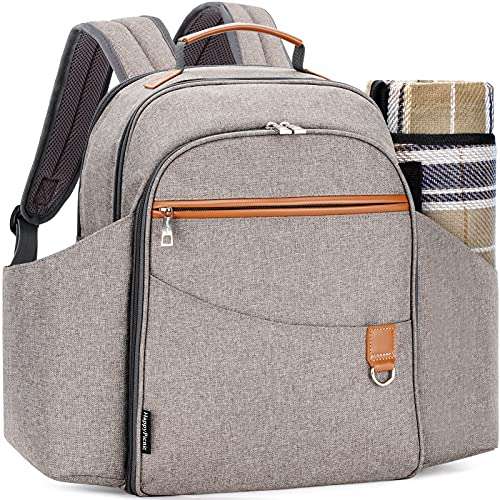 HappyPicnic Insulated Picnic Sets Bag for 4 Persons,Roomy Cooler Compartment, Bottle Holders and Waterproof Picnic Rug (Brushed Khaki)