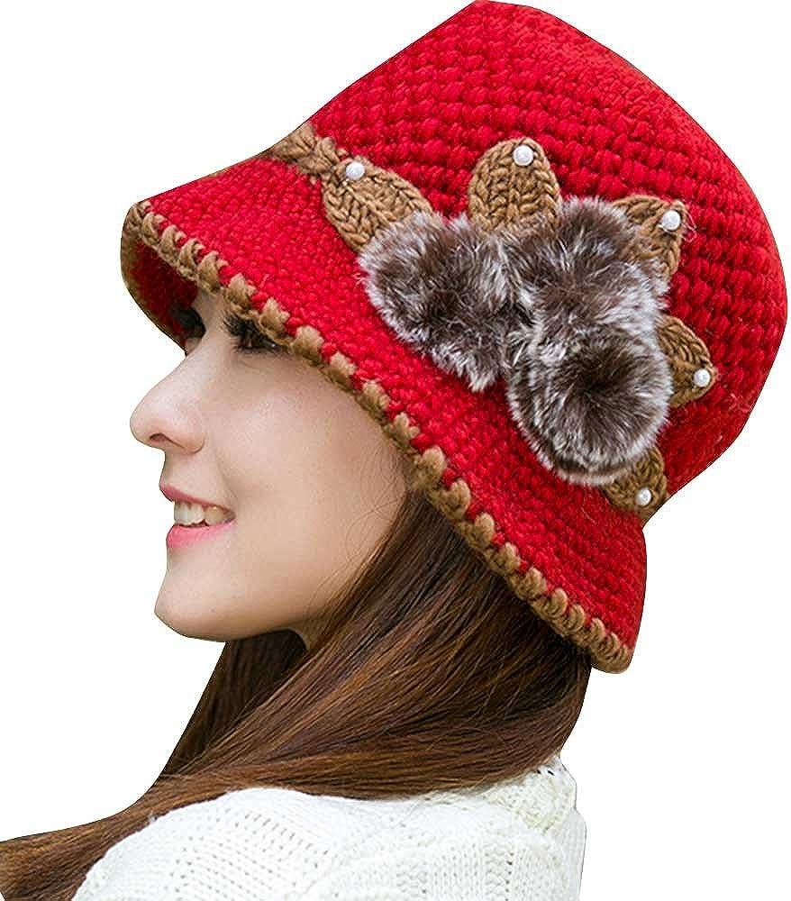 DIOMOR Womens Fashion Knitting Flower Decorated Sun Hat Breathable Bucket Hat Retro Fedora Cuban Trilby Straw Hat