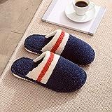 ypyrhh Memoria Schiuma Scarpe in Caldo Peluche Cotone,Non-Slip Confinement Cotton Slippers, Home Warm Slippers-Navy_38-39