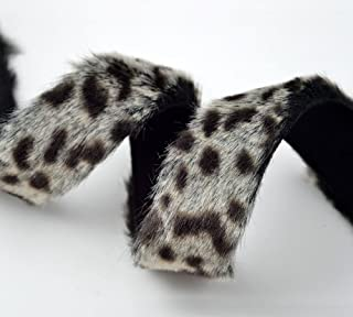 25mm Leopard Faux Fur trim band with Micro suede back by 1 yard, YD-FF-65