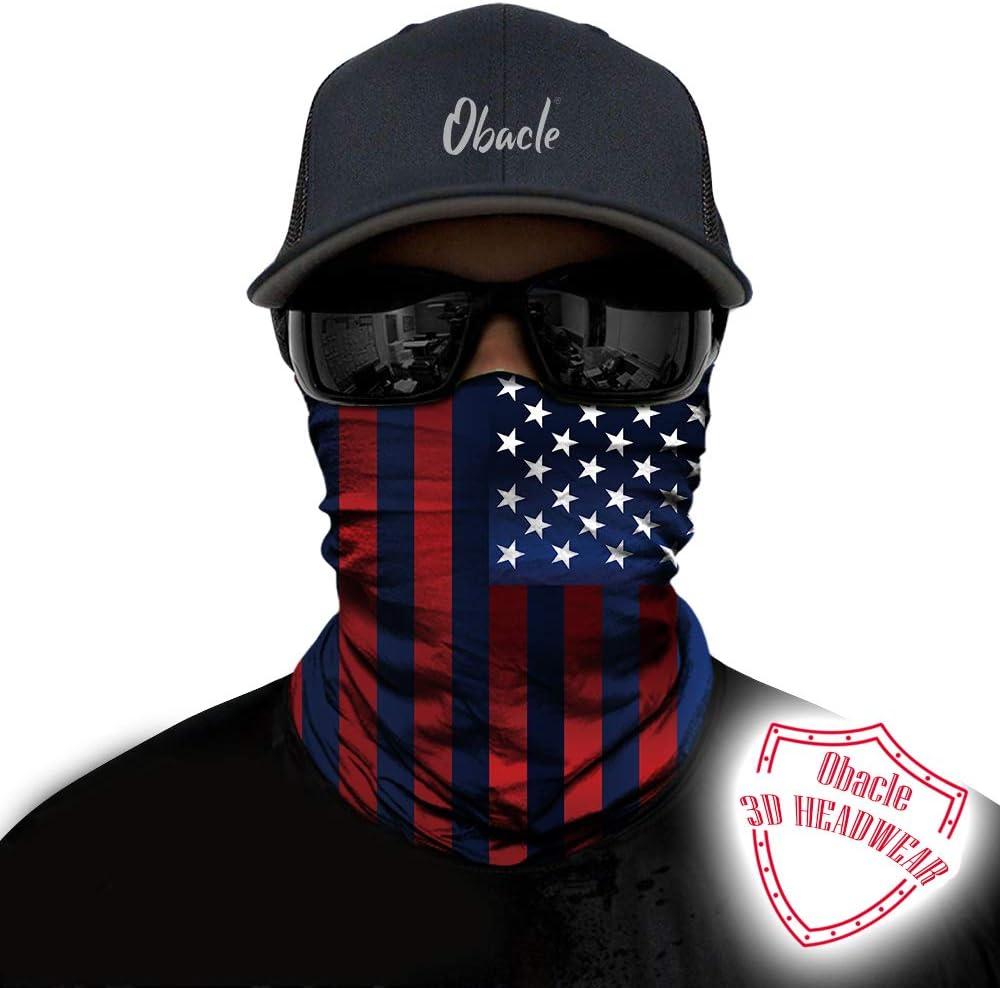 Obacle Neck Gaiter Face Mask Bandana for Dust Wind Sun Protection Seamless Tube Headband Bandana Thin Mask for Men Women for Motorcycle Riding Biker Fishing Cycling Running Sports Festival Raves