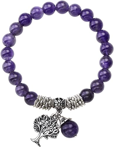 Jovivi 8MM Purple Amethyst Natural Gemstone Tree of Life Lucky Charm Stretch Bracelet