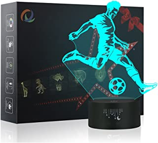 Crenze 3D Fußball Nachtlicht,7 Farben Berührungssteuerung Zuhause Dekor Tischleuchte,Optische Illusion LED Nachtlampe USB Tischlampe, für Kinder Weihnachten Geburtstag beste Geschenk Spielzeug