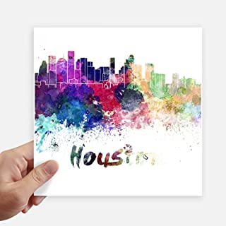 Houston America City Watercolor Sticker Tags Wall Picture Laptop Decal Self adhesive