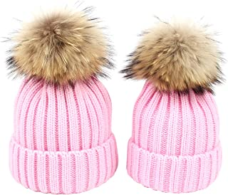 YOBAYE Mother Daughter Matching Hats 2pcs Matching Beanies Parent-Child Winter Warm Crochet Knit Beanie Hat with Pom Pom Balls