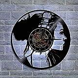 xjm Music Girl Familia Reloj de Pared de Vinilo Amazon Ebay Wish Black Clay (Size : with Light)