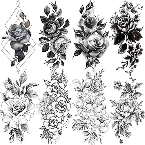 LAROI 8 Fogli Petalo 3D Fiore Rosa Adulti Tatuaggi Temporanei Donna Impermeabile Falso Braccia Gambe Schizzo Realistici Adesivi Tatuaggio Temporaneo Nero Per Ragazze Spalle Foglie Temp Pasta Tattoos