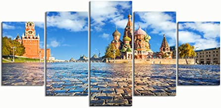 PENGTU Paintings Modern Canvas Painting Wall Art Pictures 5 Pieces, spasskaya Tower st basils Cathedral on,Wall Decor HD Printed Posters Frame