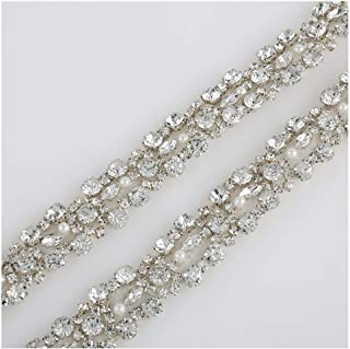 QueenDream Sale Crystal Trim, 1 Yard Rhinestone Trim,Rhinestone Applique, Bridal Applique, Wedding Applique, Sash Applique