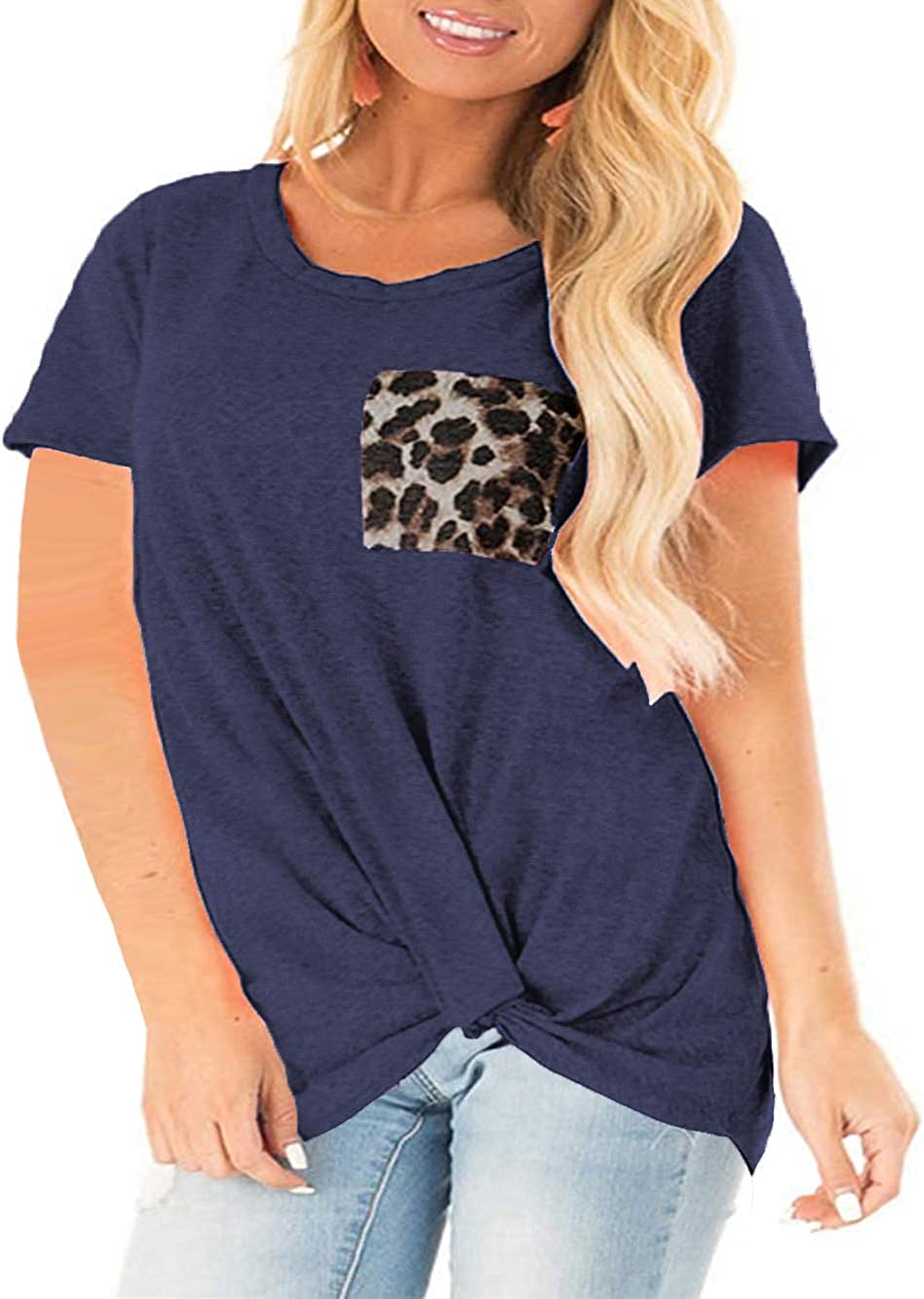 DOLNINE Womens Plus-Size Short-Sleeve Tops Casual Side Twist Knot Tunic T-Shirts
