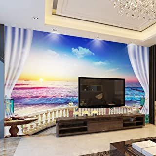 Zffmss Custom Photo 3D Wallpaper Modern Sunrise Landscape Of Seaside Living Room Sofa Background Customize Personality Mur...