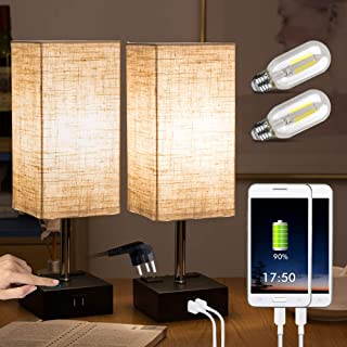 ZEEFO Touch Lamps, Nightstand Table Lamp Built-in Dual USB Charging Ports, 2 AC Outlet,..