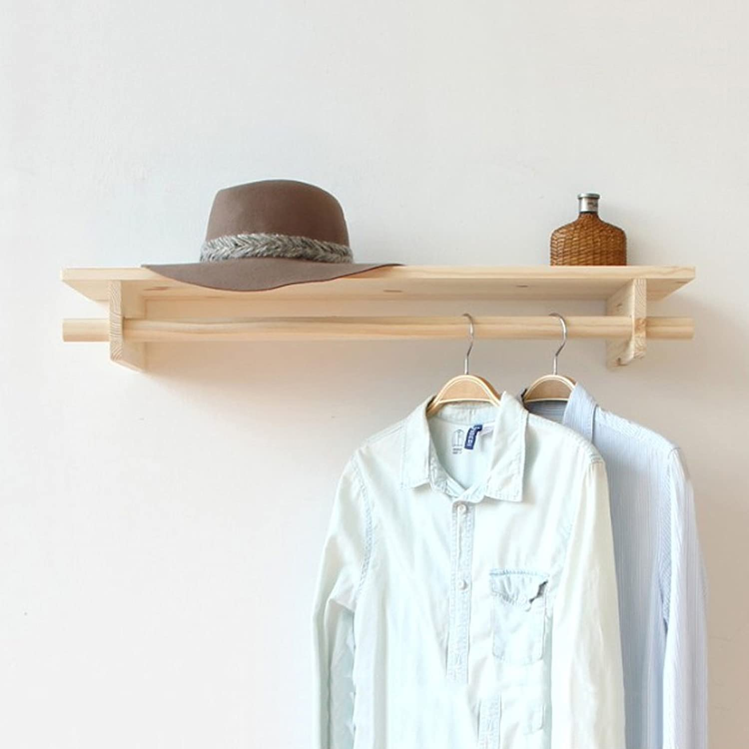 Coat Rack Solid Wood Wall Mount Retro Combination Wall Hanger Partition Hook Hanger Suitable for Living Bedroom Study Clothing Shop (80  20cm)