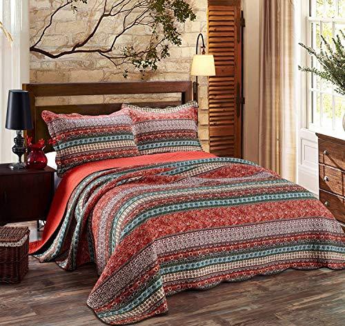 Unimall 4507334 Tagesdecke Baumwolle Sofaüberwurf Decke im Boho Stil 170 x 220 cm, Rot