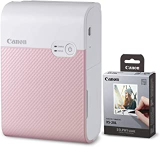 Canon SELPHY Square QX10 Compact Photo Printer (Pink) + Canon SELPHY Color Ink & Label XS-20L Set (20 Sheets),