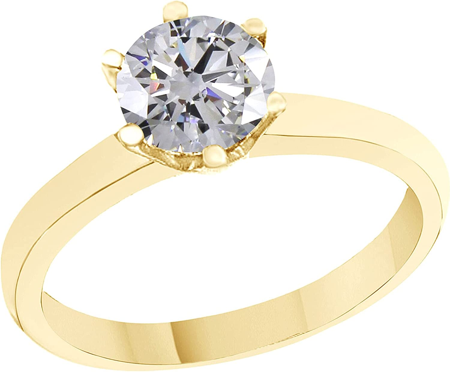2.00Ct ROUND MAN-MADE 14K SOLID YELLOW GOLD SOLITAIRE ENGAGEMENT RING(5 to 9)
