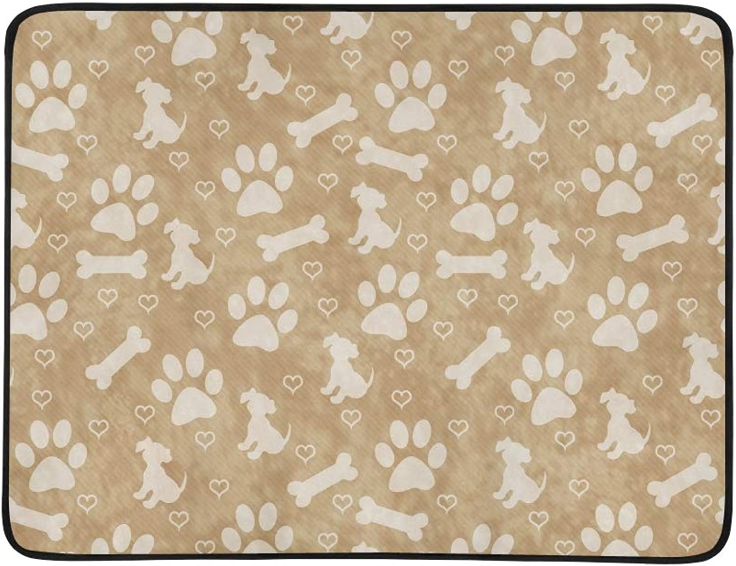 Brown Dog Paw Prints Puppy Bone Portable and Foldable Blanket Mat 60x78 Inch Handy Mat for Camping Picnic Beach Indoor Outdoor Travel