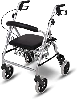 Rollator Walker with Seat and Wheels, Portable Walkers for Seniors, Medical Mobility Walking Aids, Walker with Large Capac...