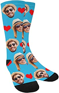 Custom Photo Pet Face Socks, Love Heart Crew Socks with 2 Faces for Men Women