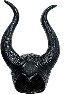 LiuzilaiST Black Long Halloween Costume Queen Horns Hat Deluxe Magic Witch Headpiece Headdress for Women Girls Adult