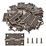 PGMJ 40 Pieces Antique Decorative Hinges Bronze Engraving Design Box Hinges Jewelry Box Ha...