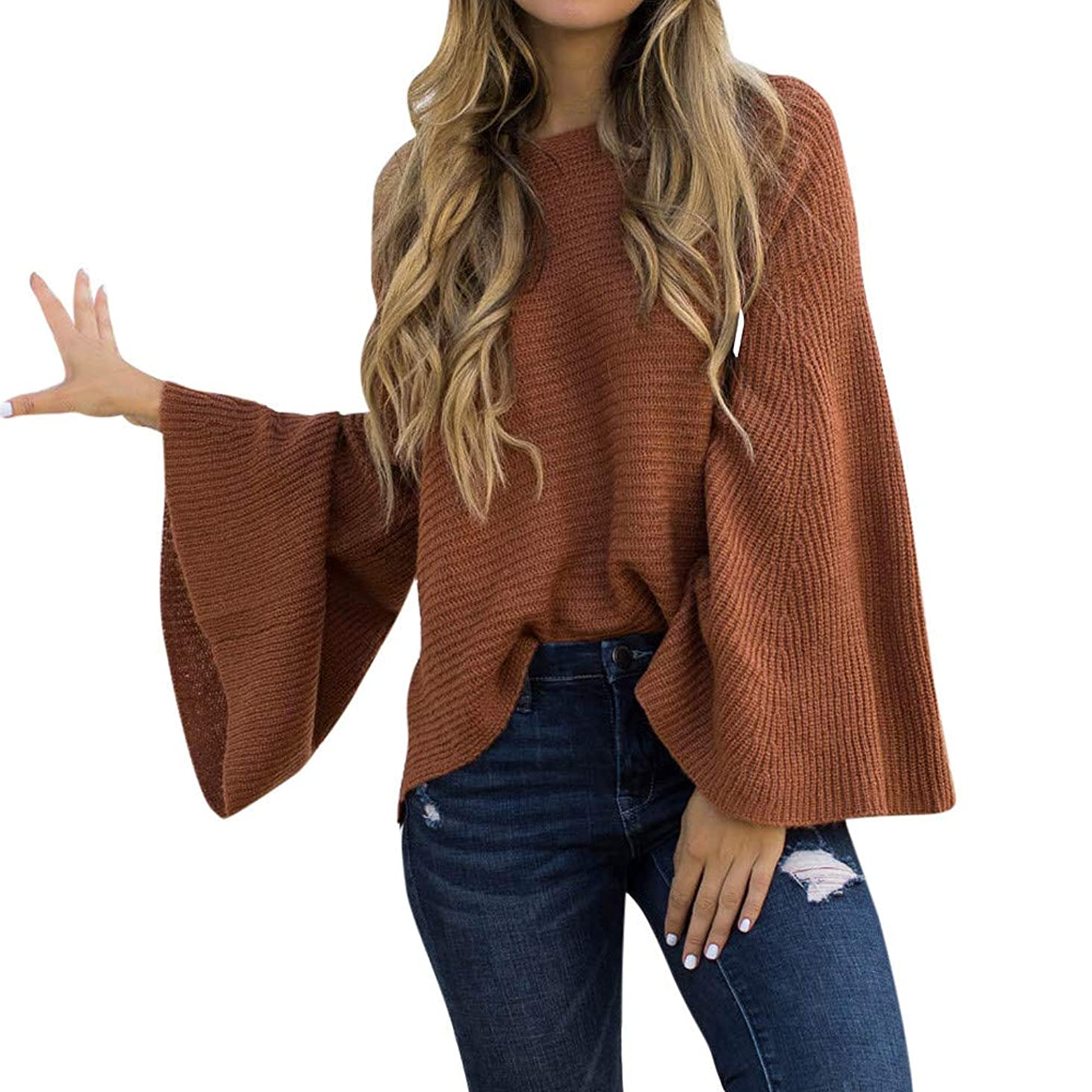 Franterd Sexy Thin Plus Size Early Autumn Sweater Women Loose Long Flare Sleeve Knitted Thin Jumper Pullover Blouse