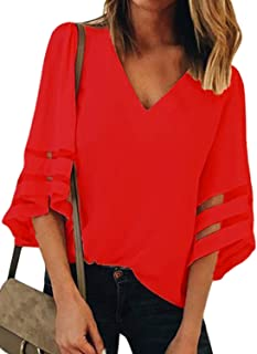 e9b9f5c01a3 GOSOPIN Women V Neck Tops Loose 3/4 Bell Sleeves Blouse Solid Color Lace  Patchwork