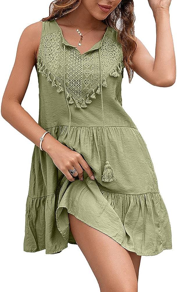 Women Summer Casual Dress Sleeveless Tie V Neck Tassel Lace Crochet Swing Sundress
