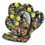 Destination Vinyl ltd Great Posavasos (juego de 4) corazón – patrón de peces de acuario océano bebida marina brillante posavasos/protección de mesa para cualquier tipo de mesa #44114