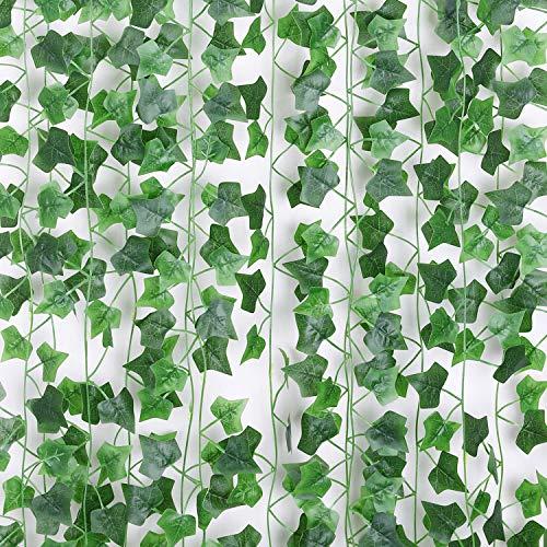 Floralsecret 90Ft 12 Strands Artificial Vines Fake Ivy Leaves Hanging Garland Wedding Wall Decor (Ivy Leaves)
