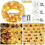 33Ft 100LED Fairy Lights with Remote Timer,8 Modes Dimmable Photo Clips String Lights,USB & Battery Operated Christmas Lights for Bedroom Wedding Christmas Tree Outdoor Party Wall DIY Decor,Waterproof