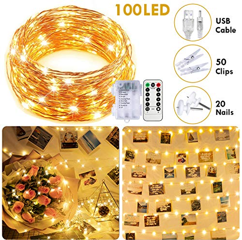 SYIHLON Fairy Lights Battery Operated/USB Plug in,8 Modes Waterproof Copper Wire...