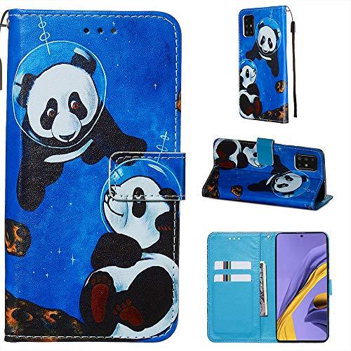 Miagon pour Samsung Galaxy A51 Housse en PU Cuir,Coque Etui Portefeuille à Rabat Clapet Support Fermeture Magnétique Stand Case Cover,Bleu Panda