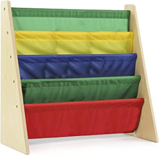 Class Kids' Book Organizer with Primary: Natural finish with bright primary bookshelves, 5 Deep Fabric Sling Sleeves, Perf...