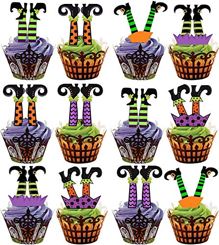 Figuras precortadas para decoración de cupcakes y tartas, con forma de piernas de bruja, comestible, especial para Halloween, paquete de 12