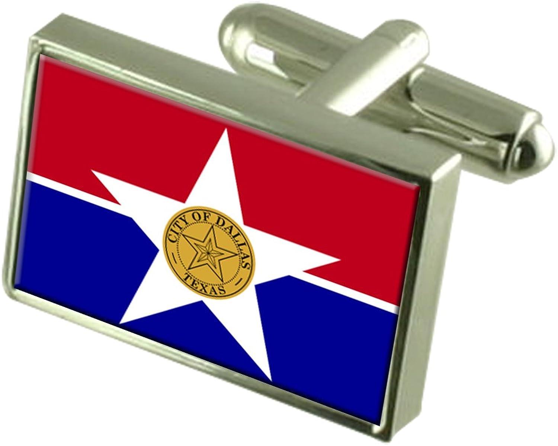 Dallas City USA Flag Cufflinks Engraved Box