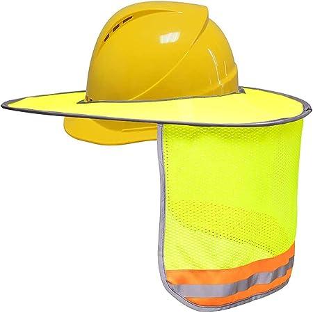 Safety Hard Hat Yellow Neck Shield Helmet Sun Shade Reflective Stripe Sunscreen