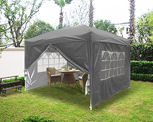 Greenbay Garden Pop Up Gazebo Party Tent Folding Wedding Canopy With 4 Sidewalls and Carrying Bag Anthracite 3x3M