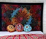 Bohemian Psychedelic Wandbehang Wandteppich - 213 x 137 cm Multicolor Star Indian Mandala Wall Decor Tagesdecke Hippie Strandteppich