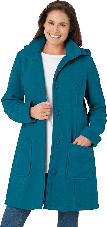 Woman Within Women's Plus Size Hooded A-Line Fleece Coat