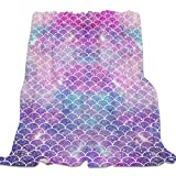 Singingin Ultra Soft Flannel Fleece Bed Blanket Charming Mermaid Fish Scale Throw Blanket All Season Warm Fuzzy Light Weight Cozy Plush Blankets for Living Room/Bedroom 40 x 50 inches