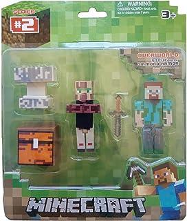 Cartela Boneco Minecraft Personagens + Acessorios Steve e Villager