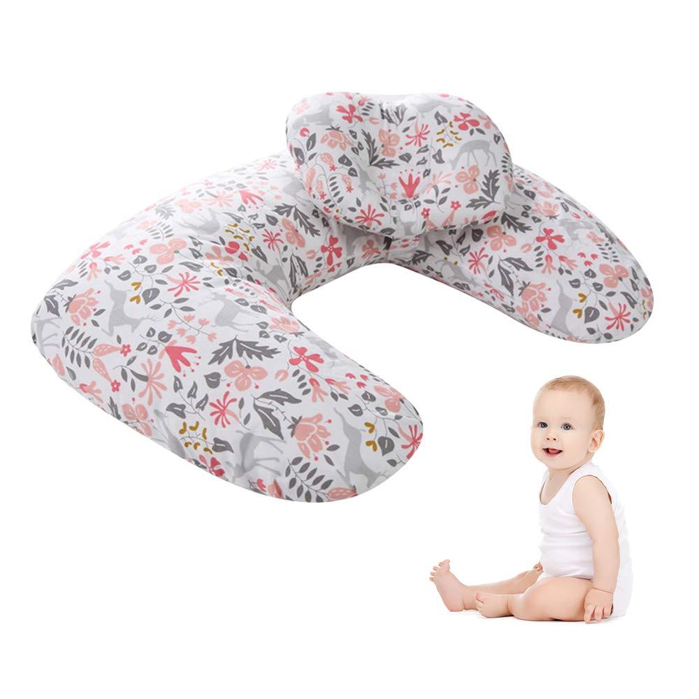 TOFOAN Baby Breastfeeding Nursing Pillow, Detachable Machine Washable, Multifunction 45° Angle U Shape Infant Support Pillow, Newborn Headrest & Backrest Lounger, Head Positioner (Floret)