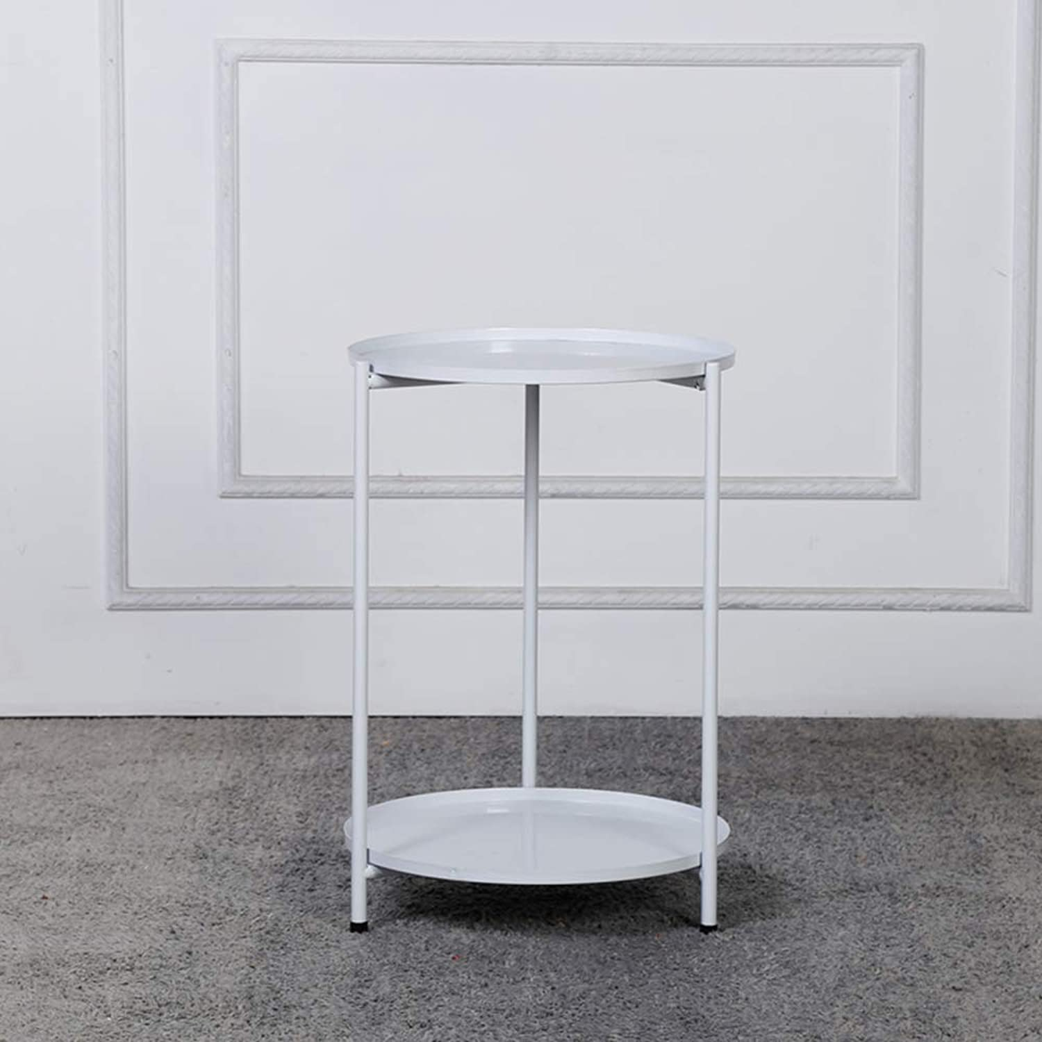 HUO,Coffee Tables Iron Balcony Small Coffee Table Sofa Side Table Living Room Small Round Table Multifunction (color   White)