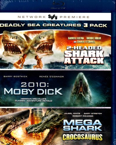 2-Headed Shark Attack , 2010 Moby Dick , Mega Shark Versus Crocosaurus - VSC Deadly Sea Creatures 3 Pack - Blu-Ray
