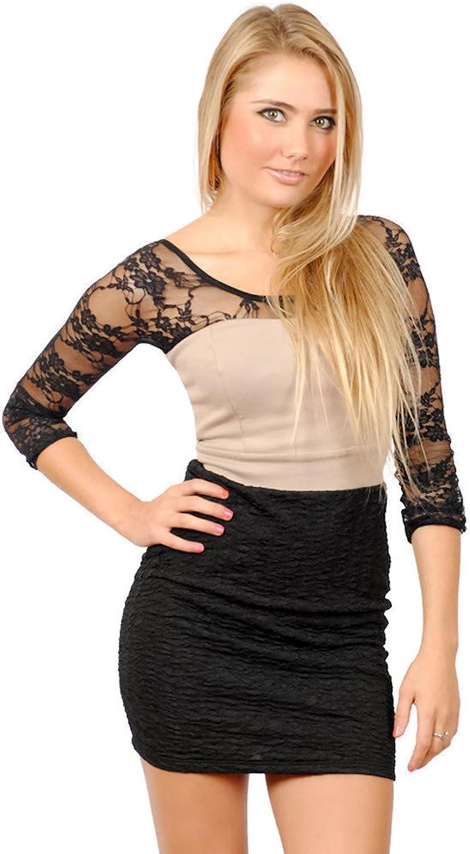 Sleevey Wonders Women's Black Lace Reversible Slipon 3 4 Sleeves