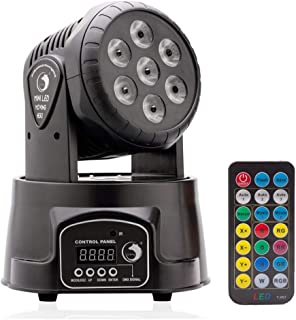 U`King Moving Head Light 7x10W LED RGBW (4 in 1) Color Lighting Effect 9/14 CH by DMX Control and IR Remote for DJ Show Bar Party Wedding Disco KTV